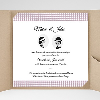 Faire part de mariage pochette carré lady and gentleman sans photo