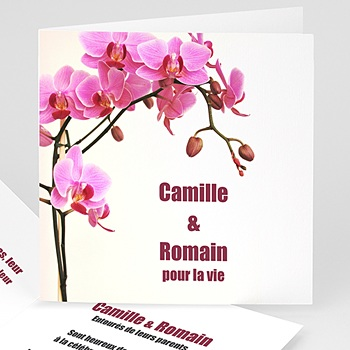 Faire part de mariage sans photo orchidée rose