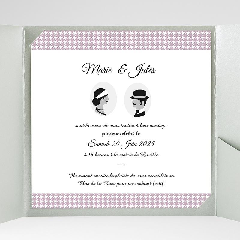 Faire-Part Mariage Pochette carré Lady and Gentleman gratuit