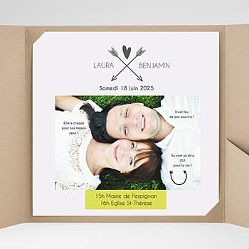 Faire-Part Mariage Pochette carré - Petits mots d'amour - 0