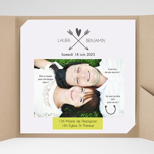 Faire-Part Mariage Pochette carré - Parlez-moi d'amour 37146 thumb