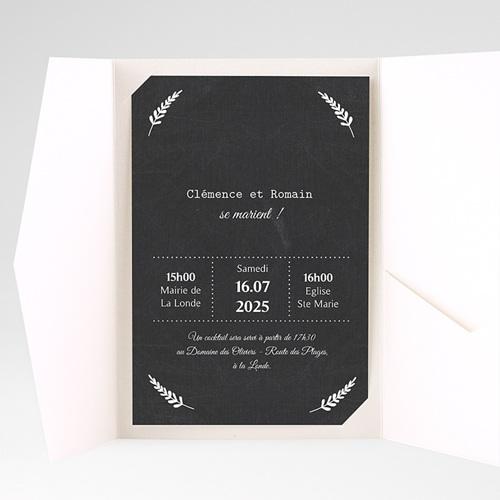Faire Part Mariage Pochette rectangulaire - Ardoise chic 37159 preview