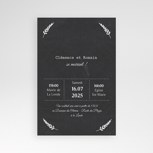 Faire Part Mariage Pochette rectangulaire - Ardoise chic 37161 thumb