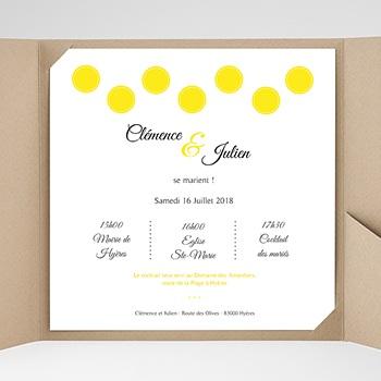 Faire-Part Mariage Pochette carré - Citron - 0
