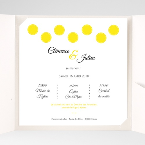 Faire-Part Mariage Pochette carré - Citron Flambloyant 37171 preview