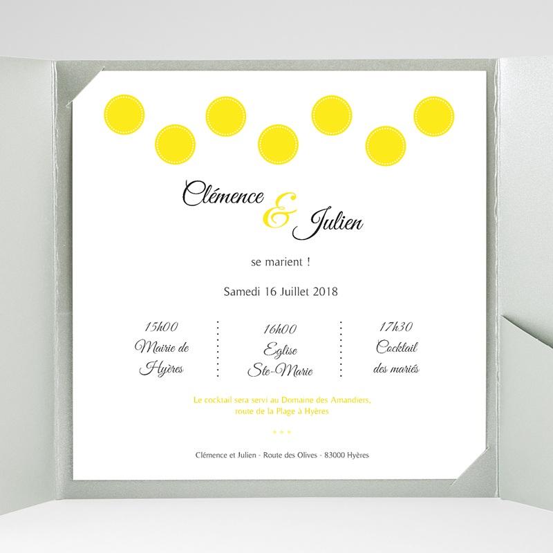 Faire-Part Mariage Pochette carré Citron Flambloyant gratuit