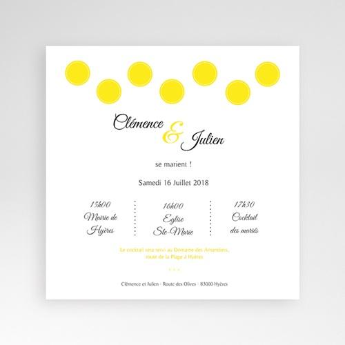 Faire-Part Mariage Pochette carré Citron Flambloyant