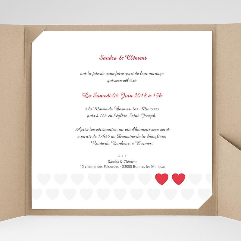 Faire-Part Mariage Pochette carré - Mon coeur, mon Amour 37488 thumb