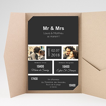 Faire Part Mariage rectangulaire - Mr & Mrs - 0