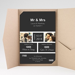Faire Part Mariage rectangulaire Mr & Mrs