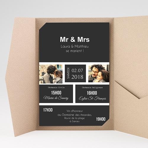 Faire Part Mariage Pochette rectangulaire - Mr & Mrs 37512 thumb