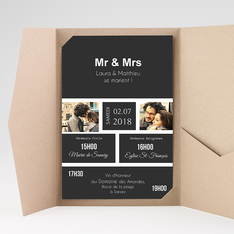 Faire Part Mariage rectangulaire Mr & Mrs
