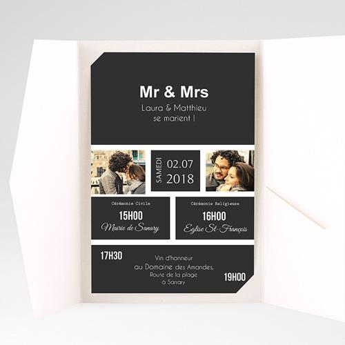 Faire Part Mariage Pochette rectangulaire - Mr & Mrs 37513 thumb