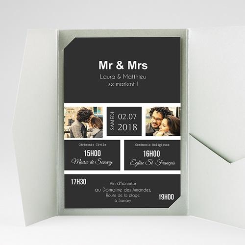 Faire Part Mariage Pochette rectangulaire - Mr & Mrs 37514 thumb
