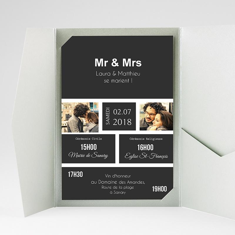 Faire Part Mariage rectangulaire Mr & Mrs gratuit