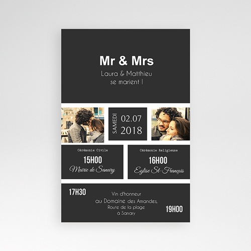 Faire Part Mariage Pochette rectangulaire - Mr & Mrs 37515 thumb