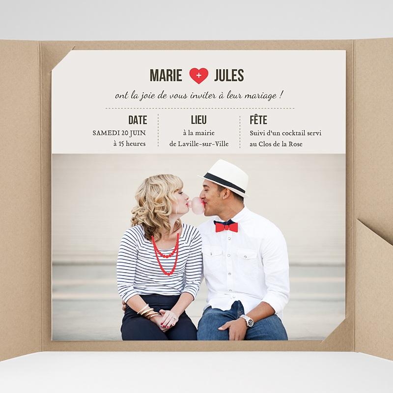faire part mariage pochette carr rouge vintage. Black Bedroom Furniture Sets. Home Design Ideas