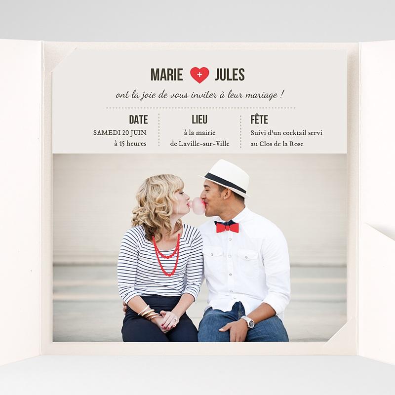 Faire-Part Mariage Pochette carré Rouge Vintage pas cher