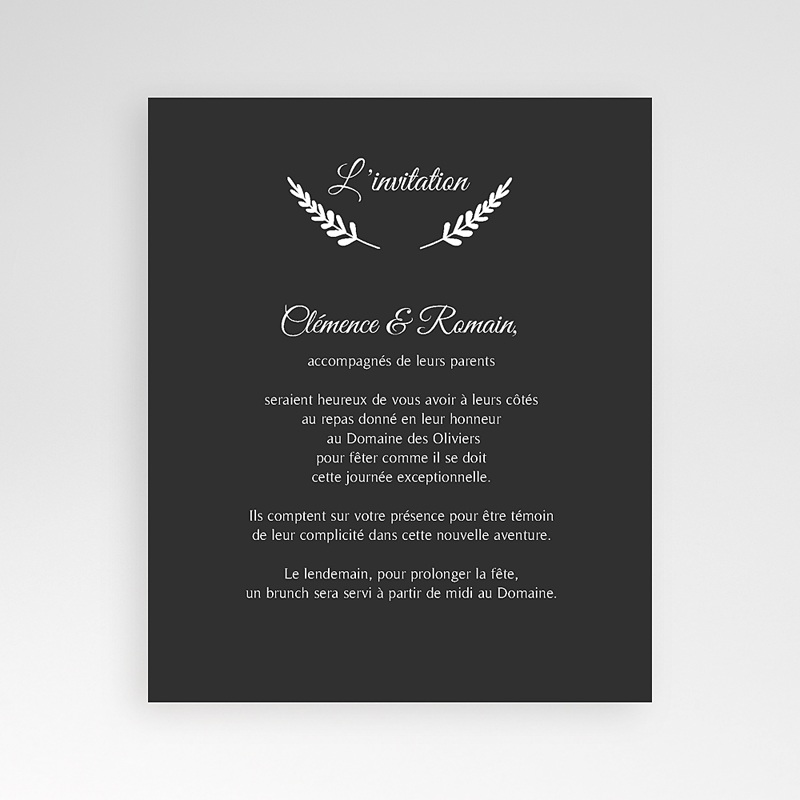 Carte d'invitation Ardoise chic