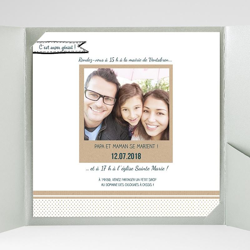 Faire-Part Mariage Pochette carré Belle et grande famille gratuit