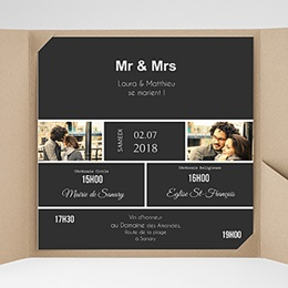 Faire-Part Mariage Pochette carré Mr & Mrs So-and-so