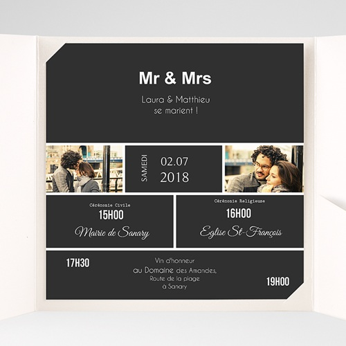 Faire-Part Mariage Pochette carré - Mr & Mrs So-and-so 37813 preview