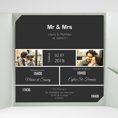 Faire-Part Mariage Pochette carré - Mr & Mrs So-and-so 37814 preview