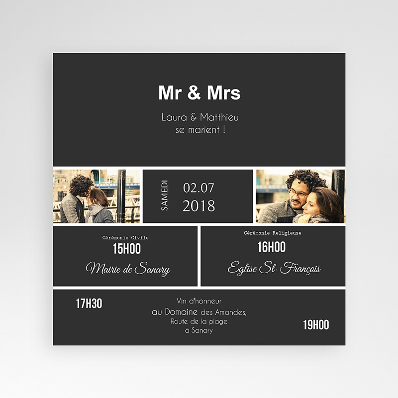 Faire-Part Mariage Pochette carré Mr & Mrs So-and-so