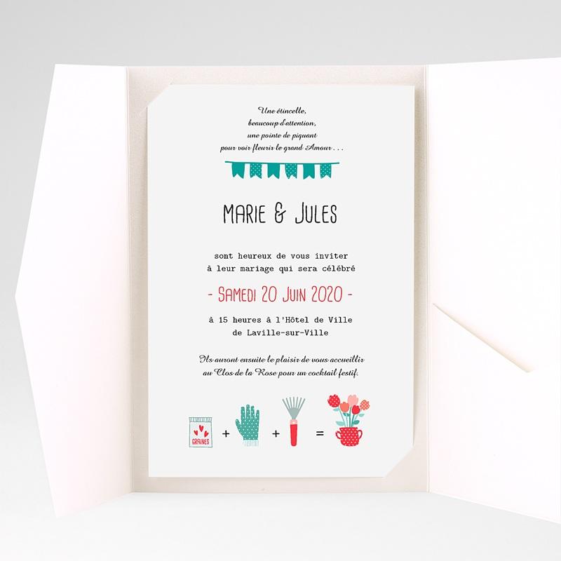 Faire Part Mariage Pochette rectangulaire - Cultivons l'Amour 37837 thumb