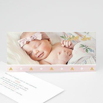 Faire part de naissance fille frise rose douceur avec photo