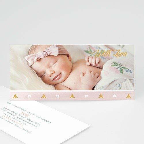 Faire-part naissance fille Frise rose douceur