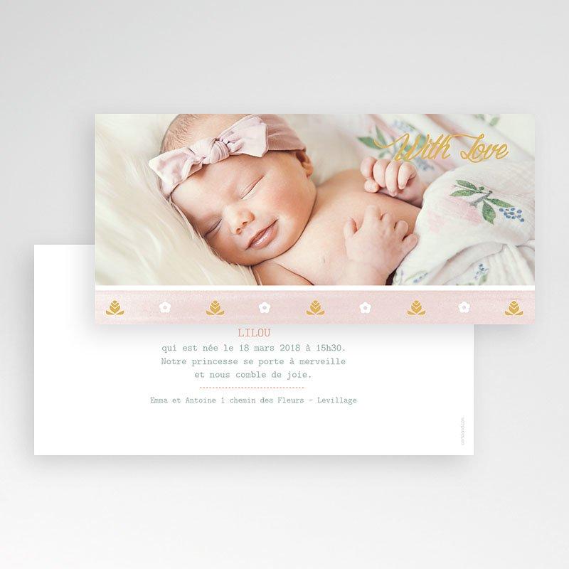 Faire-part naissance fille Frise rose douceur pas cher