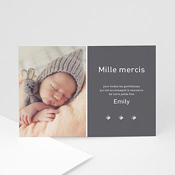 Carte remerciement naissance fille 1000 mercis personnalisé