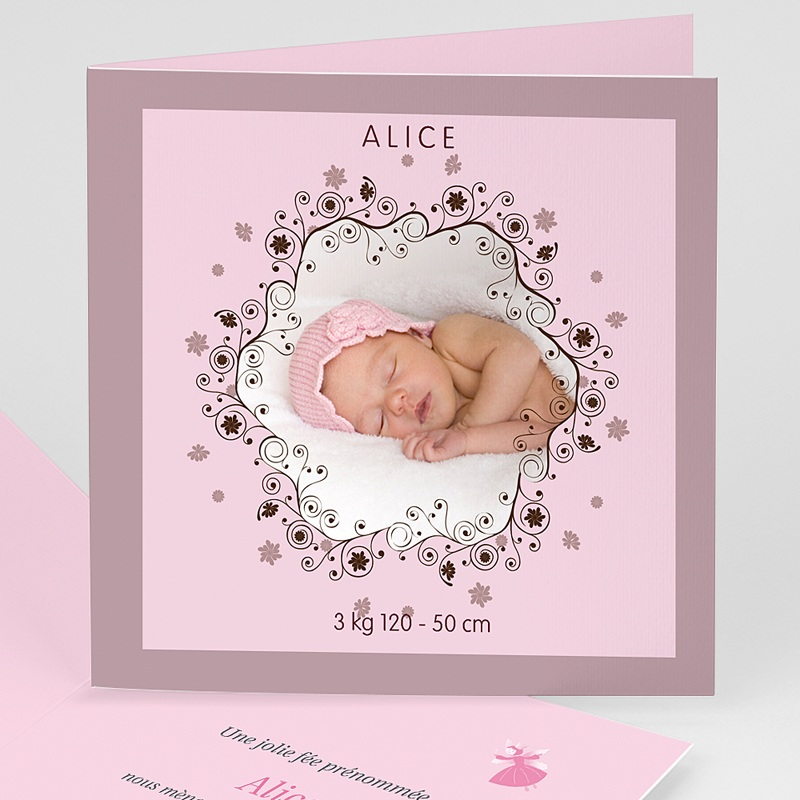 Faire-part naissance fille Cadre étoilé - rose