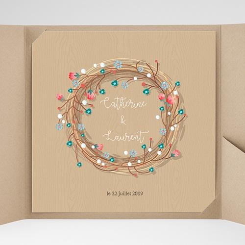 Faire-Part Mariage Pochette carré - Esprit champêtre 38077 thumb