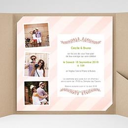 Faire-Part Mariage Pochette carré Rayures et photos