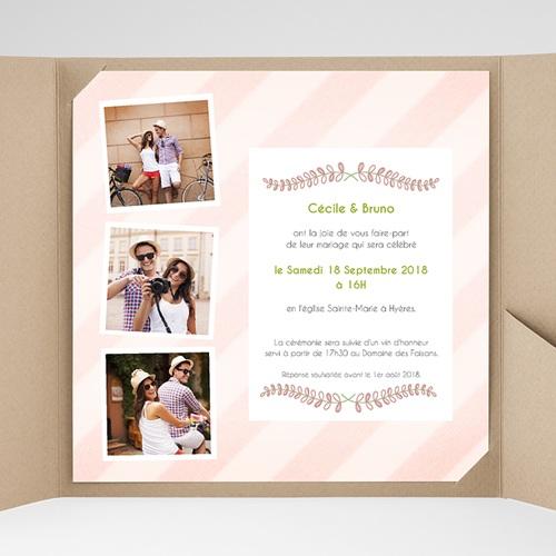 Faire-Part Mariage Pochette carré - Rayures et photos 38109 preview