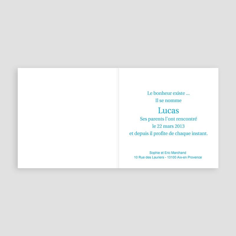Faire-Part Naissance Garçon - Petit Porte-Bonheur - Bleu 3811 thumb