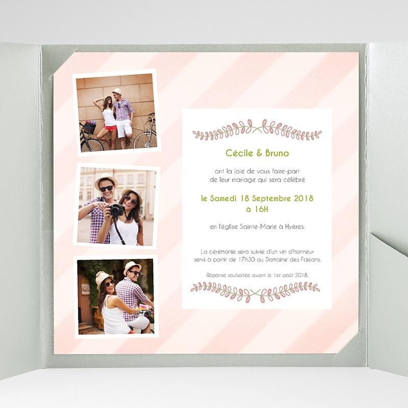 Faire-Part Mariage Pochette carré Rayures et photos gratuit