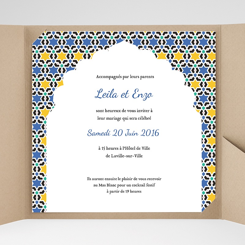 Faire-Part Mariage Pochette carré - Zellige Bleu 38125 thumb