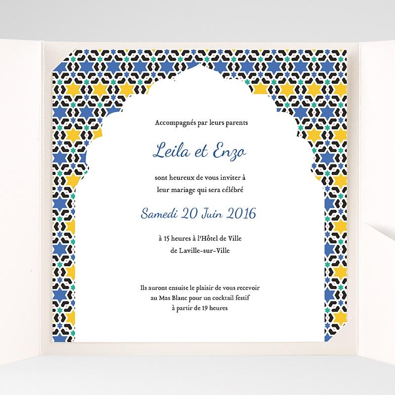 Faire-Part Mariage Pochette carré - Zellige Bleu 38126 thumb