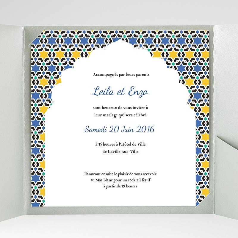 Faire-Part Mariage Pochette carré - Zellige Bleu 38127 thumb