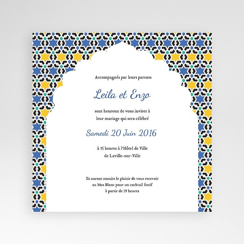 Faire-Part Mariage Pochette carré - Zellige Bleu 38128 thumb
