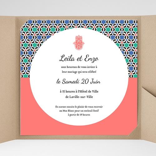 Faire-Part Mariage Pochette carré - Oriental Style 38137 thumb