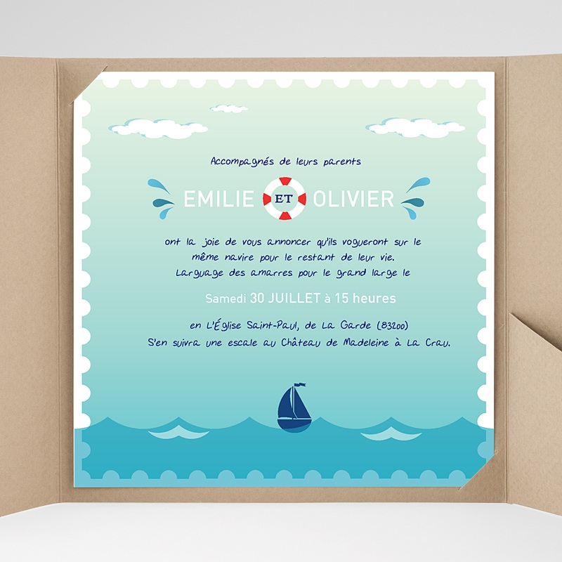 Super Faire-Part Mariage Mer | Carteland.com CJ75