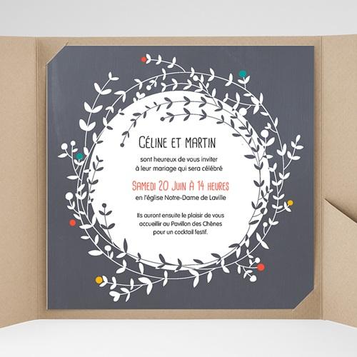 Faire-Part Mariage Pochette carré - L'amour couronné 38161 preview