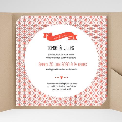 Faire-Part Mariage Pochette carré - Origami 38169 thumb