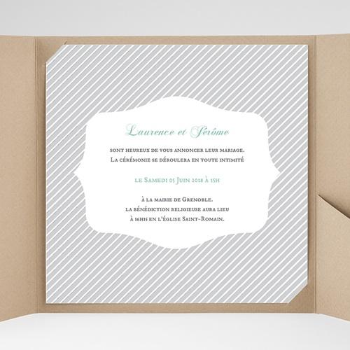 Faire-Part Mariage Pochette carré - Rayures noires 38185 preview