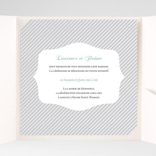 Faire-Part Mariage Pochette carré - Rayures noires 38186 preview