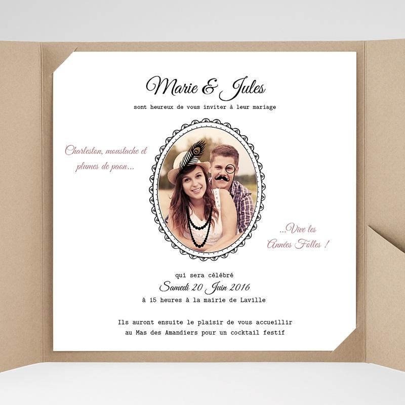 Faire-Part Mariage Pochette carré - Années Folles 38221 thumb